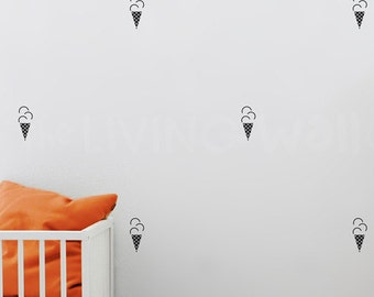Ice Cream Cone Nursery Wall Pattern, Wall Decals Nursery Decor, Fruit Vinyl Wall Stickers, Kids Room Wall Sticker Monochrome Australian made