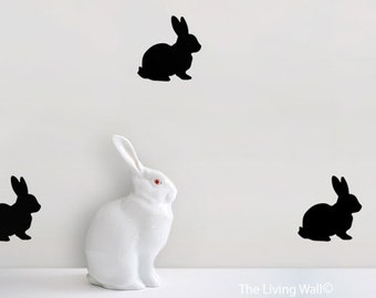 Bunnies Pattern Nursery, Rabbits Happy Easter Wall Decals Kids Room, Home Decor Australian Made