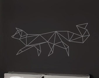 Geometric Fox Wall Decal Home Decor Vinyl Wall Stickers, Geometric Woodland Wall Art, Australian Made