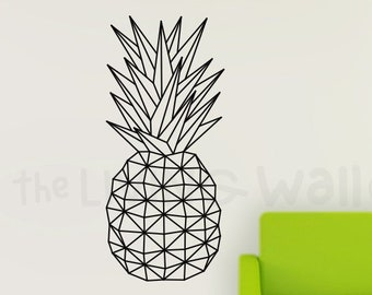 Geometric Pineapple Wall Decal, Fruit Sticker Wall Decal Decor, Australian Made