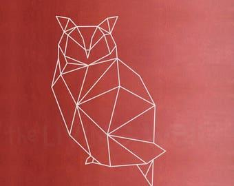 Geometric Owl Wall Decal, Geometric Animals Decor, Owl Wall Art Removable Sticker Australian Made