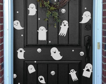 Happy Halloween Wall Decals, Party Halloween Pattern With Ghosts Little Stars and Skulls Stickers Removable