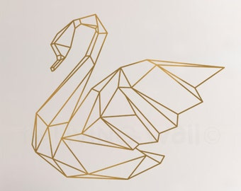 Geometric Swan Wall Sticker Home Decor Wall Decals, Swan Vinyl Wall Stickers