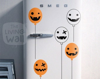 Happy Halloween Wall Stickers, Halloween Party Balloons With Ghost Face and Pumpkin Face Decal, Removable Stickers