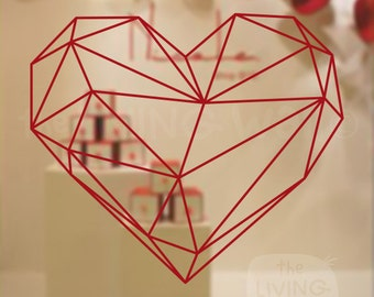 Valentines Day Geometric Heart Decorative Shop Window Display, Removable Sticker Australian Made