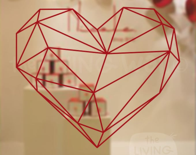 Featured listing image: Valentines Day Geometric Heart Decorative Shop Window Display, Removable Sticker Australian Made