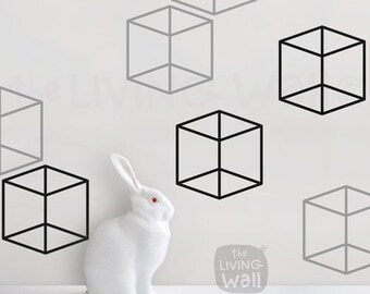 Cubes Pattern Home Decoration Wall Decal, Geometric Patterns Vinyl Decal Wall  Stickers,Australian Made