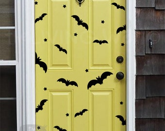 Happy Halloween Bats Wall Decals, Party Halloween Pattern With Bats and Little Stars Stickers Removable