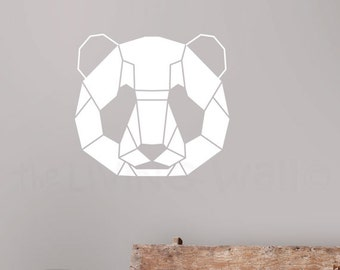 Geometric Head Panda Decal Home Decor, Head Panda Geometric Animals Wall Sticker, Australian Made