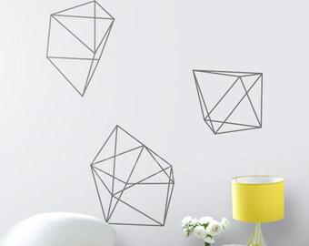 Diamonds Wall Decals Geometric Shapes Home Decor Removable Vinyl Wall Decal Diamond Vinyl Wall Stickers, Australian Made