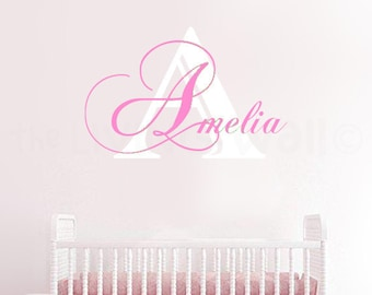 Personalized Girl Name Initial Nursery Wall Decals, Girls Monogram Stickers, Removable Wall Art Australian Made