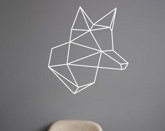 Head Fox Geometric Wall Stickers, Geometric Animals Decals Head Fox Home Decor, Australian Made