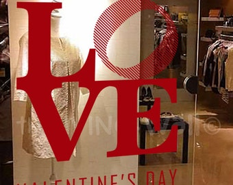 LOVE Valentines Day Quotes, Decorative Glass Shop Window Display, Removable Stickers Australian Made