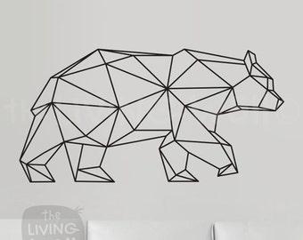 Geometric Bear Wall Decal, Geometric Animals Decor Bear Wall Art Removable Sticker Australian Made