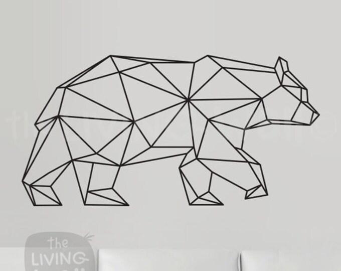 Featured listing image: Geometric Bear Wall Decal, Geometric Animals Decor Bear Wall Art Removable Sticker Australian Made