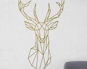 Geometric Deer Head Decal Geometric Animal Stickers, Deer Head Removable Vinyl Australian Made