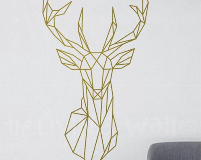 Featured listing image: Geometric Deer Head Decal Geometric Animal Stickers, Deer Head Removable Vinyl Australian Made