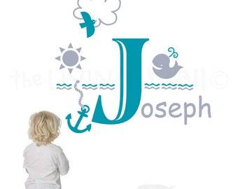 Personalized Boy Name Wall Decal, Nautical Theme Wall Sticker Nursery Wall Decor Australian Made