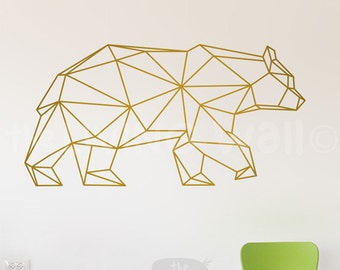 Geometric Bear Wall Decal Home Decor, Geometric Animals Bear Wall Stickers Removable Vinyl, Australian Made