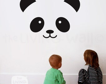 Panda Face Nursery Wall Decal, Panda Decals for Baby Room, Bear Face Vinyl Stickers Wall Art, Australian made