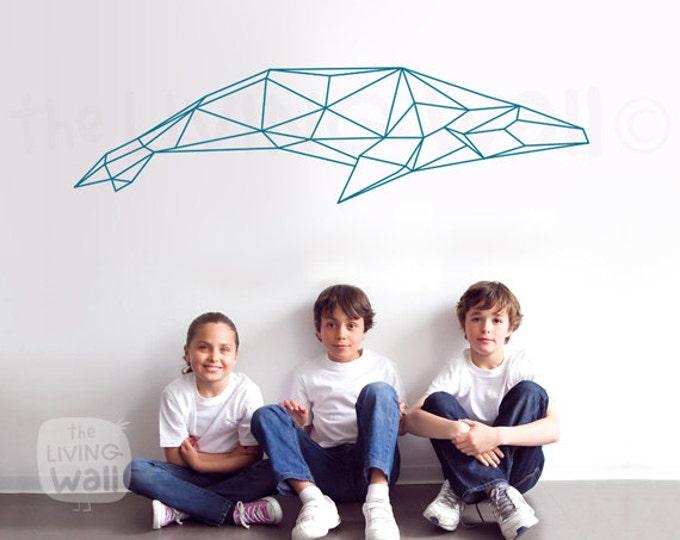 Featured listing image: Geometric Whale Wall Stcker, Geometric Animal Whale Stickers Wall Art Home Decor, Australian Made