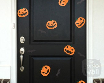 Happy Halloween Pumpkins and Bats Wall Decals, Halloween Party Pumpkin Door Stickers Removable