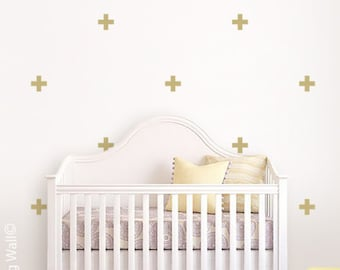 Cross Vinyl Wall Sticker, Geometric Decal Home, Gold Cross Pattern Stickers, Geometrics Wall Decals