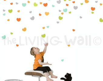 Confetti Hearts Wall Stickers in Vinyl, Heart Wall Decals Nursery Decor