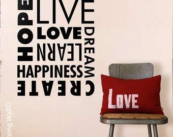 Hope Believe Create Wall Decal, Love Words Decal, Words Dream Happiness Decal, Words Home Decor Sticker, Vinyl Wall Stickers, Wall Decals