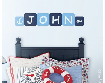 Nautical Personalized Name Decal, Nautical Nursery Decor, Personalized Names Stickers, Nautical Nursery Theme, Personalized Name Boy