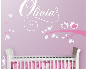 Baby Girl Name Decal, Personalized Name Sticker with Bird Decal Removable, Woodland Nursery Decor, Customised Name Wall Decal For Children
