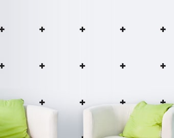 Cross Vinyl Wall Sticker, Geometric Decal Home, Little Cross Pattern Stickers, Geometrics Wall Decals