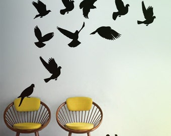 Doves wall decals, Pigeon Vinyl Wall Sticker, Dove Wall Decal Home, Doves wall sticker for bedroom Australian made