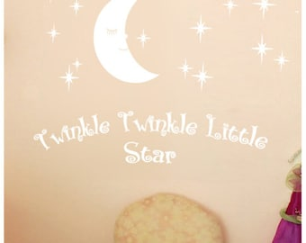Twinkle Twinkle Little Star Decals, Stars Nursery Decor, Baby Room Wall Stickers, Star Kids Room Wall Decal Australian made