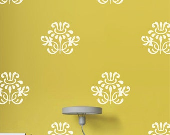 Narcissis Damask Wall Decals, Floral Damask Wall Decal, Flower Wall Decor, Shabby Chic Wall Stickers, Removable Vinyl Wall Stickers