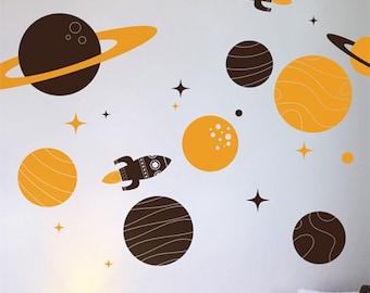 Space Nursery Vinyl Wall Sticker, Soloar System Planets & Rockets Wall Decals, Australian made