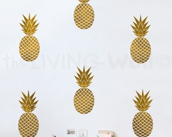 Pineapples Wall Decals Gold Vinyl Decal, Fruit Home Decor Wall Sticker Nursery Australian made