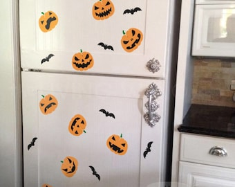 Happy Halloween Pumpkins and Bats Front Door Wall Decals, Halloween Party Pumpkin Door Stickers Removable