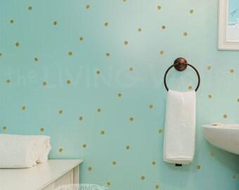 Gold hand drawn dots decal vinyl wall sticker, gold hand drawn circle decal home, hand drawn dots wall decals, gold polka dots wall pattern