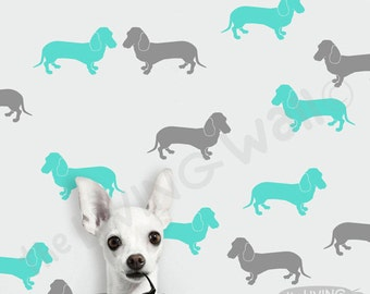 Sausage Dog Wall Decals Stickers, Animals Pattern Vinyl Wall Sticker Decal Home, Dachshund Sausage Dog Removable Vinyl