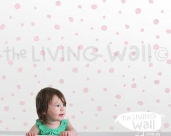 hand drawn dots, polka dots decals, mix hand drawn circle stickers, hand drawn dots wall art, gold polka dots wall pattern, kids decor