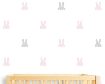 Bunny Ears Wall Sticker, White Bunny wall art for nusery room, Bunnies Pattern Wall Decal
