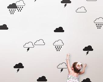 Storm Cloud Decals, Rain Cloud Decal, Cloud Wall Decals, Cloud Nursery Decor