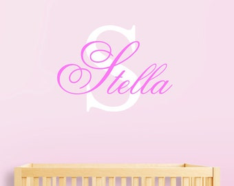 Personalized Nursery Baby Name, Bedroom Kids Monogram decal, Baby Girl Initial and Name Wall Sticker, Childrens Room Wall Delcals