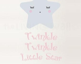 Twinkle Twinkle Little Star Wall Decal, Star Nursery Decor, Baby Room Wall Art, Star Nursery Decor Decals, Australian Made