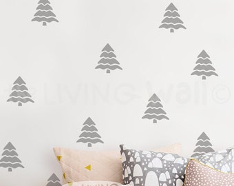 Pine Tree Pattern Wall Sticker Decal Art, Christmas Pine Tree Wall Decals, Woodland Pattern