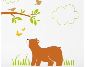 Bear Cub Wall Stickers, Forest Animals Wall Decals, Woodland Nursery Decor, Australian made