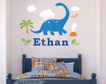 Dinosaur Name Decal Nursery Decor, Custom Personalized Name Dinosaurs Kids Room, Initial Wall Sticker Dinosaur, Dinosaur Vinyl Decorations