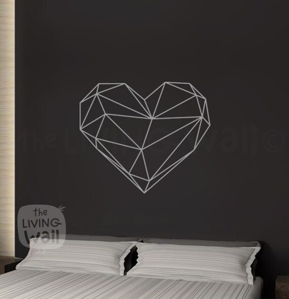 geometric heart wall decal decor bedroom heart vinyl wall | etsy