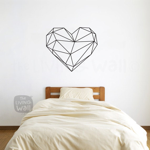 geometric heart wall decals home decor removable vinyl wall | etsy